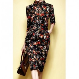 Vintage Round Collar 3/4 Sleeves Printed Dress For Women