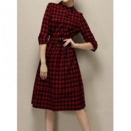Vintage Round Collar 3/4 Sleeves Single Breasted Plaid Dress For Women