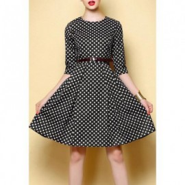 Vintage Round Collar Checked Half Sleeve Women's Dress With A Belt
