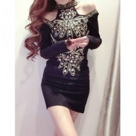 Vintage Round Collar Off-The-Shoulder Rhinestoned Dress For Women
