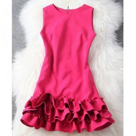 Vintage Round Collar Sleeveless Solid Color Women's Dress