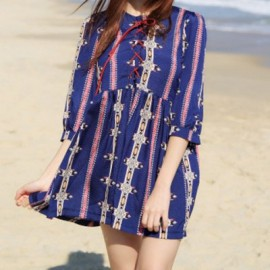 Vintage Round Neck 3/4 Sleeve Printed Lace-Up Women's Dress
