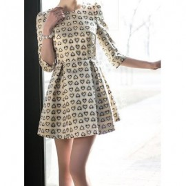 Vintage Round Neck 3/4 Sleeves Heart Print Dress For Women
