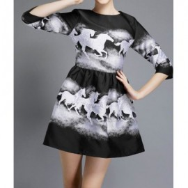 Vintage Round Neck 3/4 Sleeves Horse Print Ball Gown Dress For Women