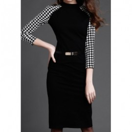 Vintage Round Neck 3/4 Sleeves Houndstooth Splicing Dress For Women