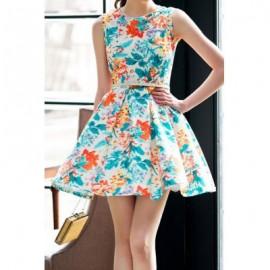 Vintage Round Neck Floral Print Sleeveless Dress For Women