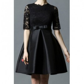 Vintage Round Neck Half Sleeves Lace Splicing Bowknot Dress For Women