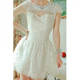 Vintage Round Neck Hollow Out Beading Lace Splicing Dress For Women