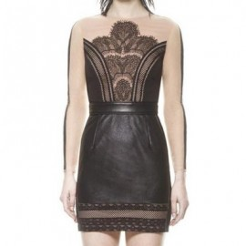 Vintage Round Neck Long Sleeves Lace Faux Leather Splicing Dress For Women
