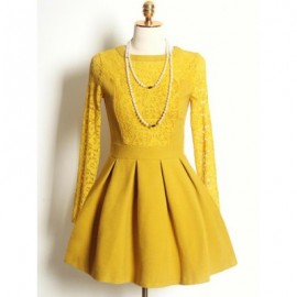 Vintage Round Neck Long Sleeves Lace Splicing Woolen Dress For Women