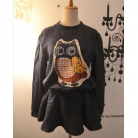 Vintage Round Neck Night Owl Pattern Long Sleeve Plaid Dress For Women