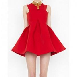 Vintage Round Neck Off-The-Shoulder Solid Color Dress For Women