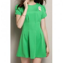 Vintage Round Neck Short Sleeve Button Design Women's Dress