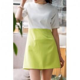 Vintage Round Neck Short Sleeves Color Splicing Dress For Women