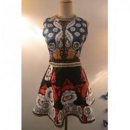 Vintage Round Neck Sleeveless Floral Print Jacquard Beaded Dress For Women