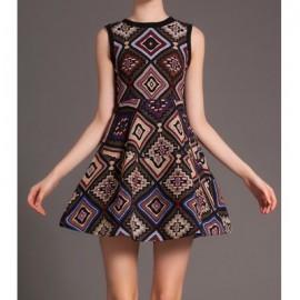 Vintage Round Neck Sleeveless Geometric Print Dress For Women