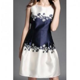 Vintage Round Neck Sleeveless Printed Spliced Women's Dress