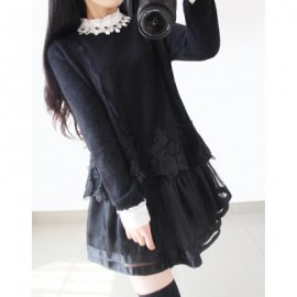 Vintage Ruff Collar Long Sleeves Voile Splicing Beaded Dress For Women