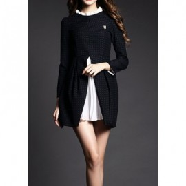 Vintage Ruffled Collar Long Sleeves Chiffon Splicing Dress For Women
