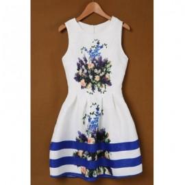 Vintage Scoop Collar Sleeveless Floral Print Women's Dress