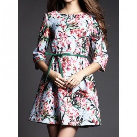 Vintage Scoop Neck 3/4 Length Sleeves Printed Jacquard Dress For Women