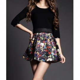 Vintage Scoop Neck 3/4 Length Sleeves Printed Leather Splicing Dress For Women