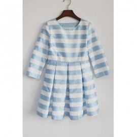 Vintage Scoop Neck 3/4 Length Sleeves Striped Dress For Women
