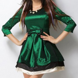 Vintage Scoop Neck 3/4 Sleeves Bowknot Color Splicing Dress For Women