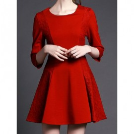 Vintage Scoop Neck 3/4 Sleeves Lace Splicing Dress For Women