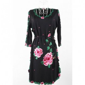 Vintage Scoop Neck 3/4 Sleeves Rose Embroidered Dress For Women