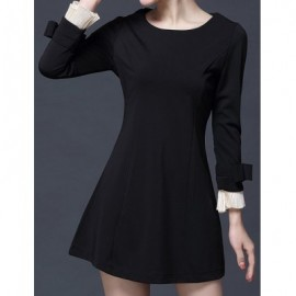 Vintage Scoop Neck Flare Sleeves Bowknot Dress For Women