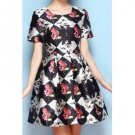 Vintage Scoop Neck Floral Print Short Sleeves Dress For Women