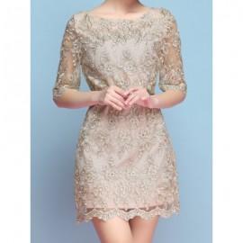 Vintage Scoop Neck Half Sleeves Embroidered Dress For Women