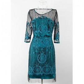 Vintage Scoop Neck Half Sleeves Voile Splicing Embroidered Dress For Women