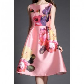 Vintage Scoop Neck High Waist Sleeveless Floral Print Dress For Women