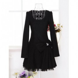 Vintage Scoop Neck Long Sleeves Bowknot Voile Splicing Dress For Women