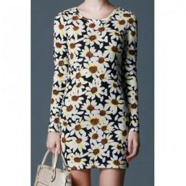 Vintage Scoop Neck Long Sleeves Floral Print Dress For Women