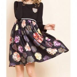 Vintage Scoop Neck Long Sleeves Floral Print Splicing Dress For Women
