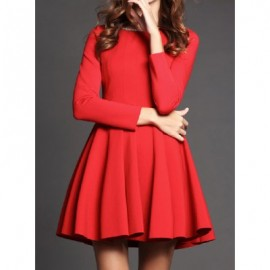 Vintage Scoop Neck Long Sleeves Solid Color Beading Dress For Women