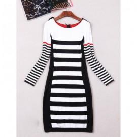 Vintage Scoop Neck Long Sleeves Striped Dress For Women