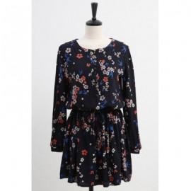 Vintage Scoop Neck Long Sleeves Tiny Flower Print Drawstring Dress For Women