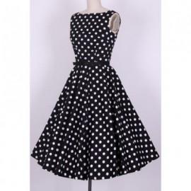 Vintage Scoop Neck Pleated Polka Dot Sleeveless Country Black Dress For Women