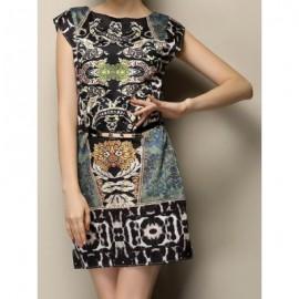 Vintage Scoop Neck Print Sleeveless Dress For Women