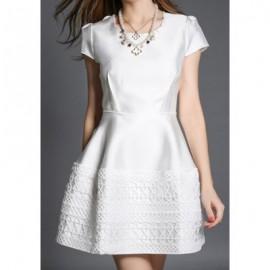 Vintage Scoop Neck Short Sleeve Solid Color Women's Dress