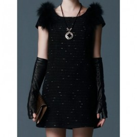 Vintage Scoop Neck Short Sleeves Faux Fur Splicing Woolen Dress For Women