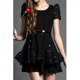 Vintage Scoop Neck Short Sleeves Solid Color Sequin Dress For Women