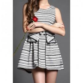 Vintage Scoop Neck Sleeveless Bowknot Dress For Women