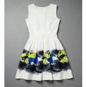 Vintage Scoop Neck Sleeveless Horse Print Bowknot Dress For Women