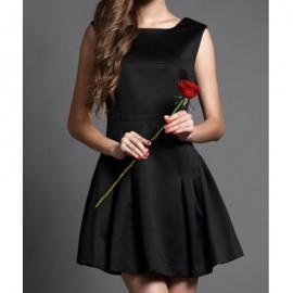 Vintage Scoop Neck Sleeveless Solid Color Backless Dress For Women