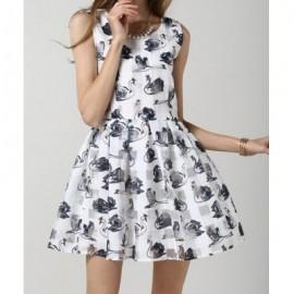 Vintage Scoop Neck Sleeveless Swan Print Dress For Women